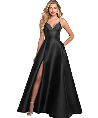 a5524130138f YGSY Women s Deep V Neck Spaghetti Straps Beaded Slit Satin Formal Evening Dress  Floor Length Prom