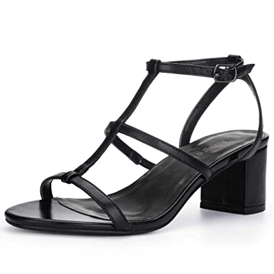 0c639555073a2 Allegra K Women s T-Strap Block Heel Black Sandals - 6 ...