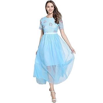 JUWOJIA Mujer Verano Azul Cielo Bordado Vestido De Malla De Moda Vestidos De Fiesta Largos Slim