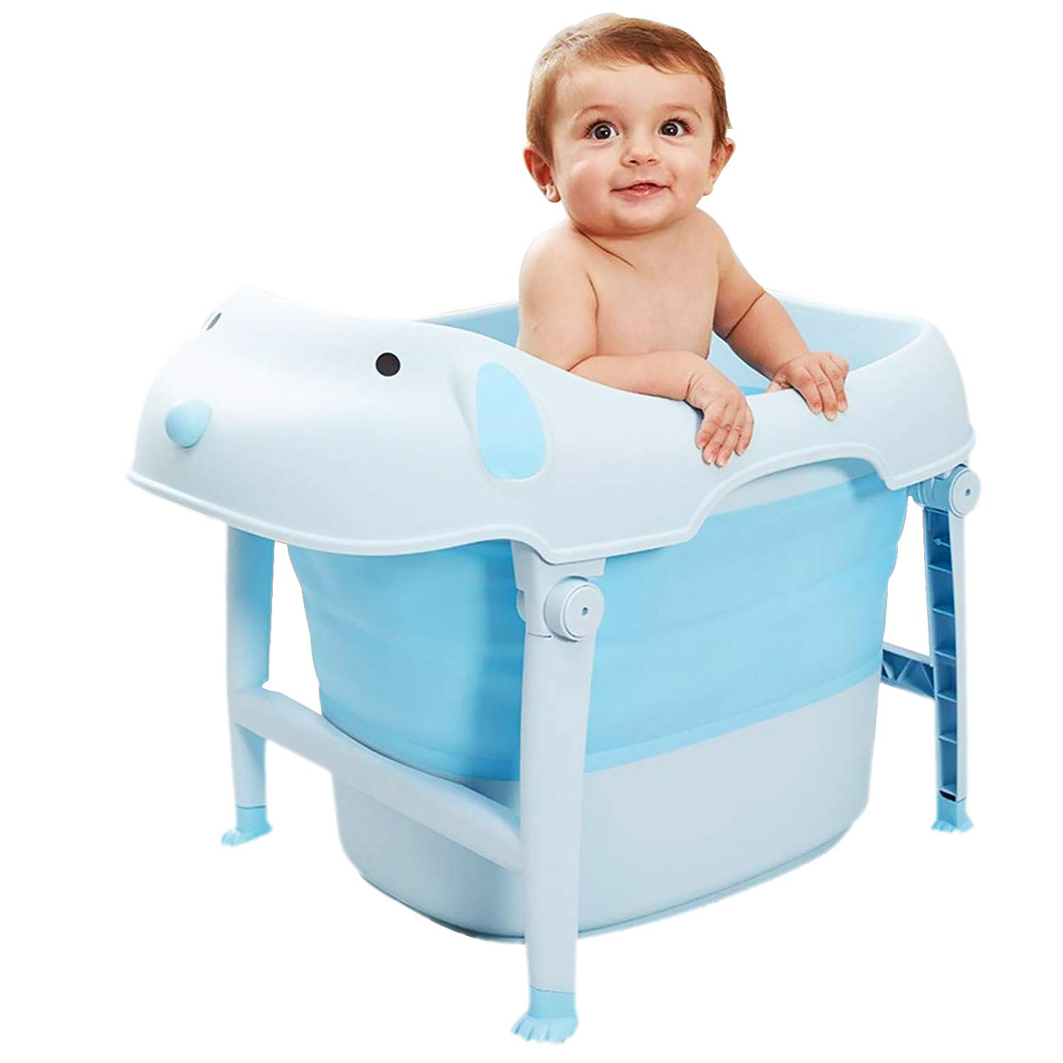 Collapsible Bathtub with Soft Bath Pillow & Lounger, Baby Bathing Tub Portable Foldable Thickened Shower Basin for Infants Kids Aged 0-10 Years Old [29.13x19.68x21.26inch] (Blue)