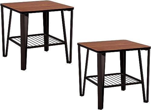 VECELO Industrial End Side Sofa Table