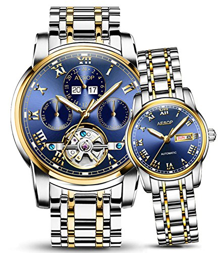 Luxury Luminous Calendar Skeleton Men Women Automatic Mechanical Stainless Steel Waterproof Couples Watch (Silver Gold Blue) by Fanmis