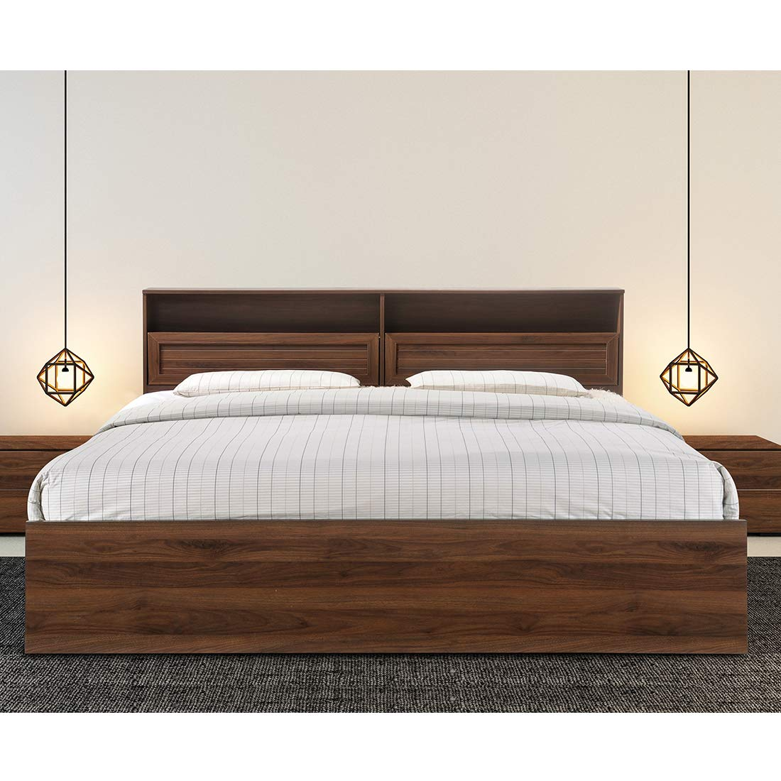 HomeTown Alyssa Engineered Wood Box Storage Queen Size Bed