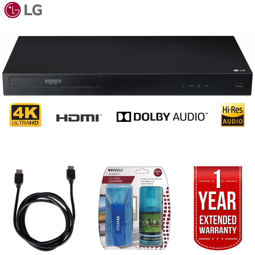 LG UBK80 4k Ultra-HD Blu-Ray Player w/ HDR Compatibility + LCD Screen Cleaner w/ Micro Fiber Cloth and Cleaning Brush + 6ft High Speed HDMI Cable (Black) + 1 Year Extended Warranty by LG
