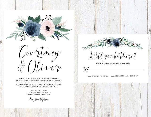 Floral Wedding Invitations.Amazon Com Dusty Blue And Blush Wedding Invitation Blush And Blue