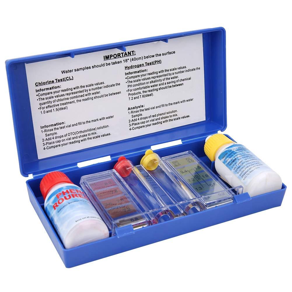 Kit de prueba de piscina, Kit de prueba de calidad de agua portátil 2 en 1, para prueba de cloro de pH de piscina, con reactivo de PH, reactivo OTO, desechos líquidos, juego de botellas de prueba