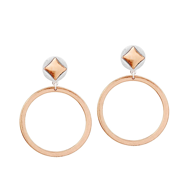 Pomina Two Tone Circle Shape Post Drop Earrings for Women