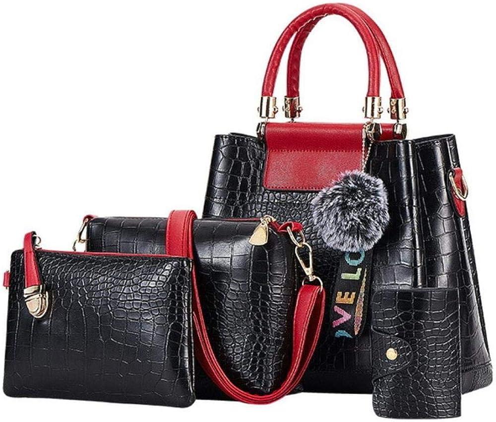 A-Gavvzq 4Ps Bolsos de mujer Set Bolsos de lujo para mujer Bolsos de hombro de cuero de la PU Bolsos compuestos de marca Bolso de mensajero 4ps Black Red