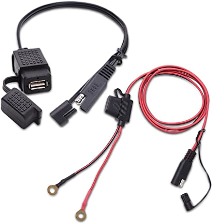 Motorcycle SAE to USB Phone GPS Charger Cable Adapter Inline Fuse Waterproof 12V