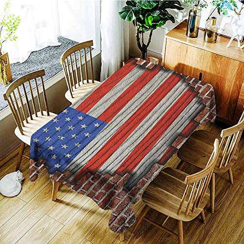 (XXANS Custom Tablecloth,USA,Fourth of July Independence Day Vintage Brick Wall Rustic Architecture Backdrop,Fashions Rectangular,W52x70L Blue Red Brown)