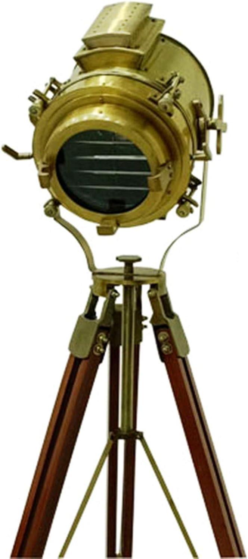 Antique Nautical Spotlight Wooden Tripod Floor Lamp Vintage Searchlight Home Decor