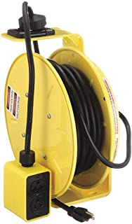 product image for KH Industries RTB Series ReelTuff Industrial Grade Retractable Power Cord Reel with Black Cable, 12/3 SJOW Cable Prewired with Four Receptacle Outlet Box, 20 Amp, 50' Length, Yellow Powder Coat Finish