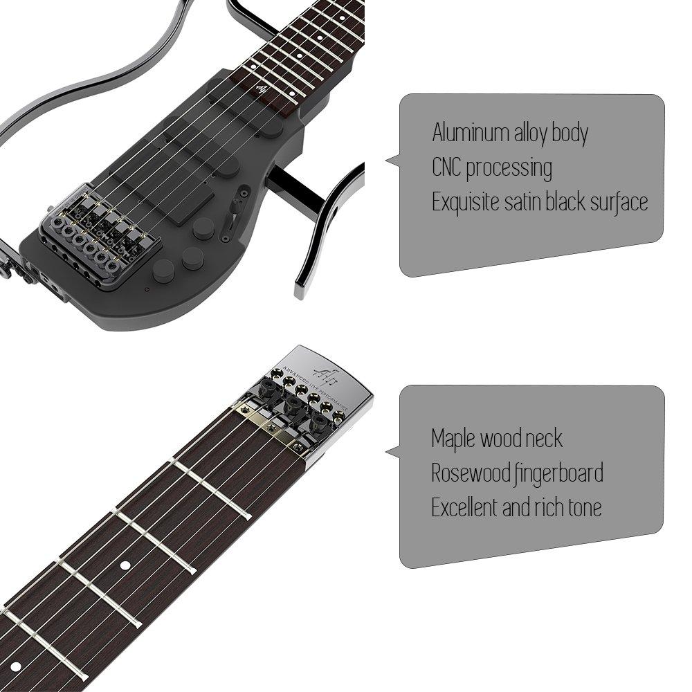 ammoon ALP AD-80 Plegable Guitarra eléctrica de viaje sin cabeza profesional Amplificador de auriculares incorporado y batería de litio recargable con Gig ...