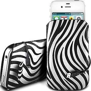 Direct-2-Your-Door - Vodafone Smart 4 Turbo protección PU Zebra Diseño deslizamiento cordón tirador de la cremallera en la caja de la bolsa con cierre rápido y USB Data Cable de carga - Blanco