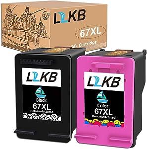 L2KB Re-Manufactured Ink Cartridge Replacement for HP 67XL for Envy 6052 6058 6075 Deskjet 2732 2755 DeskJet Plus 4152 4155 4158(2Pack)