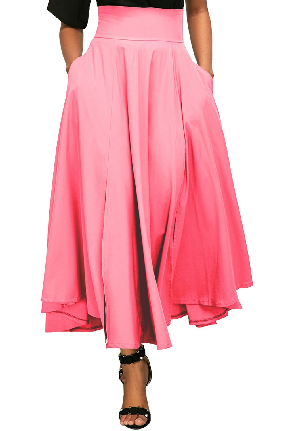 Vanbuy Women's High Waist Pleated Long Skirt Front Slit Belted Midi Skirt with Pockets Z73-65053-Pink-M
