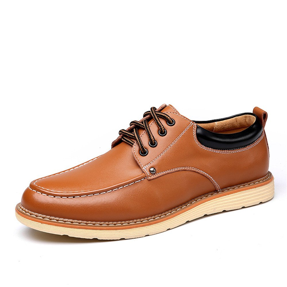 2018 Mens Oxfords, Classic Men's Casual Shoes Fashion Business Work PU Leather Flat Oxfords for Gentleman (Color : Brown, Size : 7.5 D(M) US)