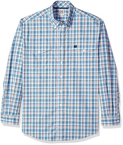 Cinch Men's Classic Fit Long Sleeve Button Two Flap Pocket Plaid Shirt, Light Blue/Orange, XL (Mens Cinch)