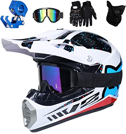 TKUI Motocross Helm mit Brille Adult Off Road Motorradhelm Crosshelm Set Handschuhe Maske Unisex Fullface Cross Helm Downhill Quad Enduro ATV Motorrad Schutzhelm f/ür Herren Damen