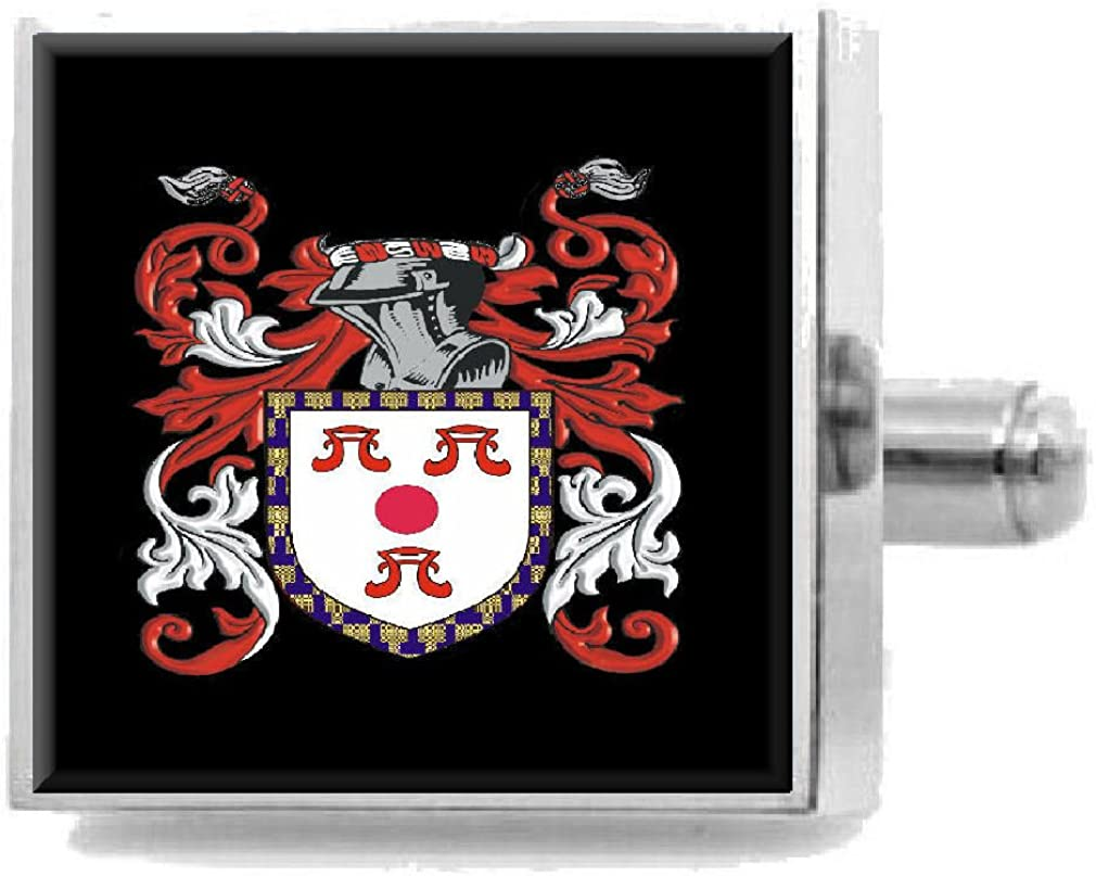 Select Gifts Mitchell England Family Crest Surname Coat Of Arms Cufflinks Personalised Case
