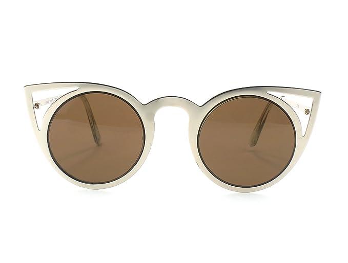47e68a2880a5 Round Metal Cut-out Cat Eye Frame Womens Fashion Designer Sunglasses (Gold    Brown