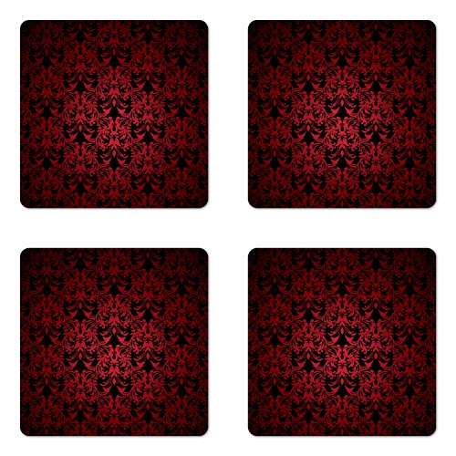 Swirl Coasters Drink (Lunarable Red and Black Coaster Set of Four, Victorian Antique Old European Design Floral Swirls and Leaves Ombre Image, Square Hardboard Gloss Coasters for Drinks, Burgundy)