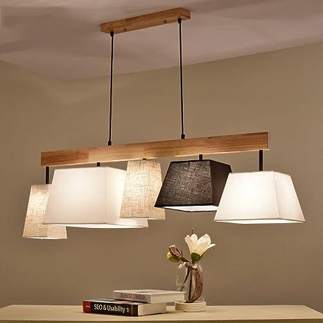 Modern Deckenlampe Holz Pendelleuchte Esstisch Deckenleuchte Wohnzimmer Lampe E27 Decke Kronleuchter Balkon Schlafzimmer Farbe 5