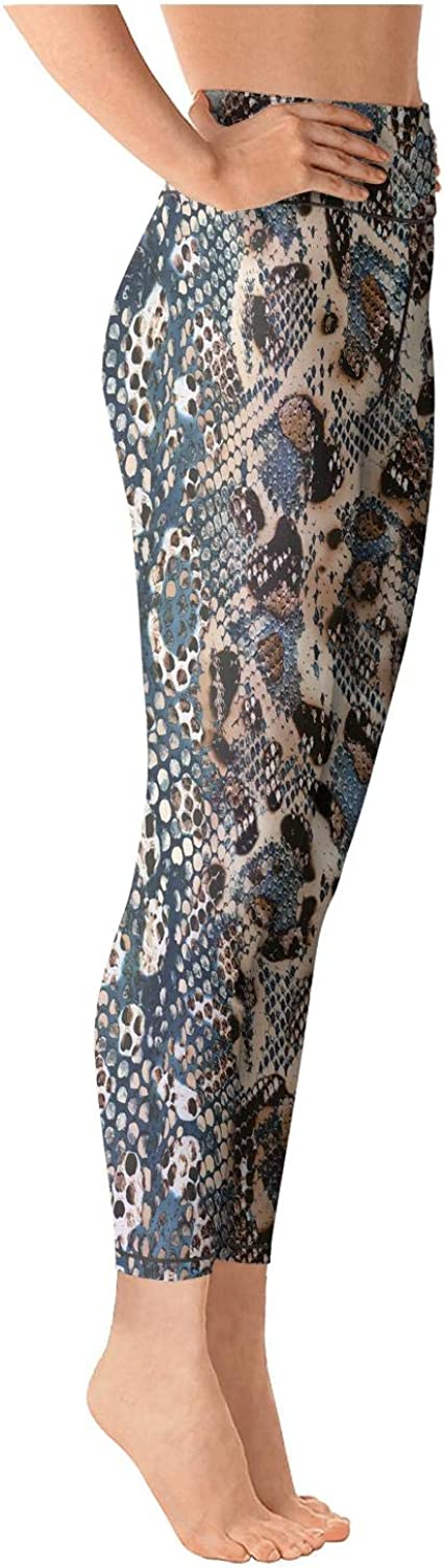 chchht Womens Cool Yoga Pants Leopard and Snake Design Pattern High Waisted Capris Fashion Leggings
