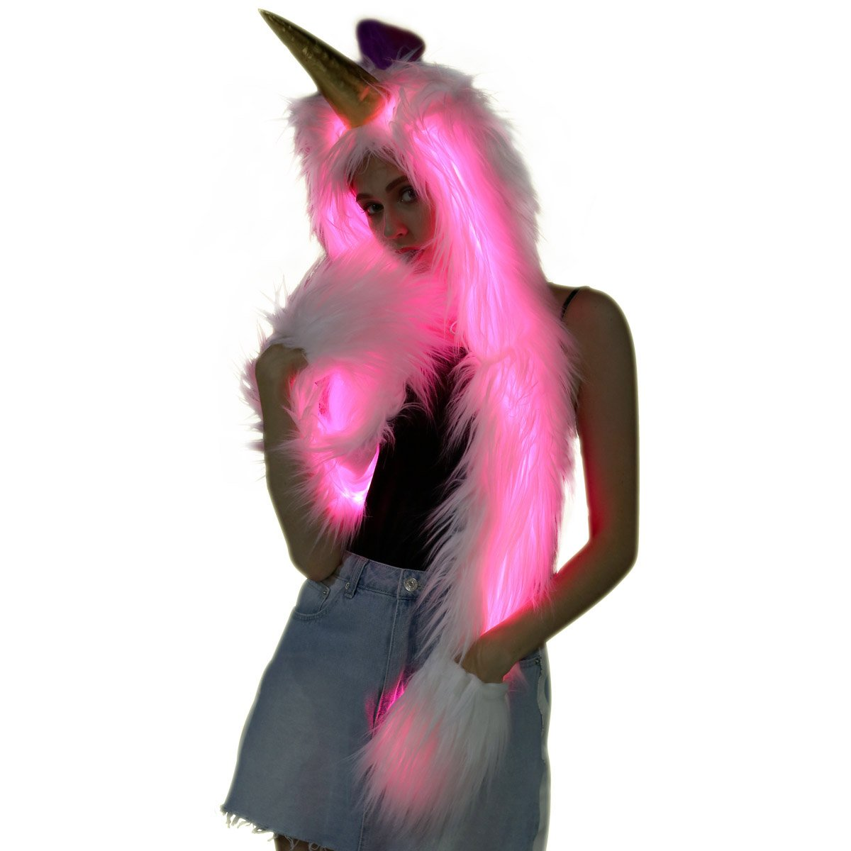 SZTOPFOCUS Faux Fur Light up Burning Glow RGB Stripe Color Changing Flashing Control LED Bunny Hood Hat with Scarf Gloves Mittens (White Unicorn)