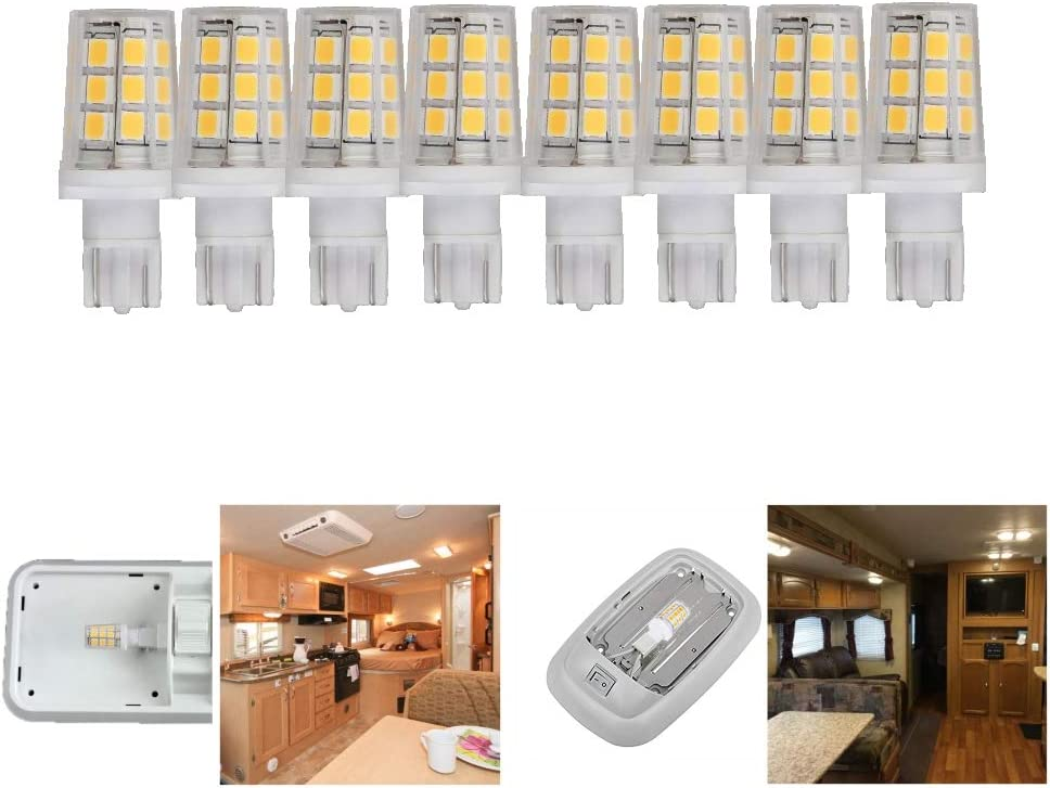 12 Volt led Replacement Bulb for 921 912 W16W T5 T10 Camper RV Motorhome Trailer Boat Marine Yacht Interior Dome Light Bulbs 3W 350lm 35-40W Equivalent Coolwhite 6000K Pack of 8