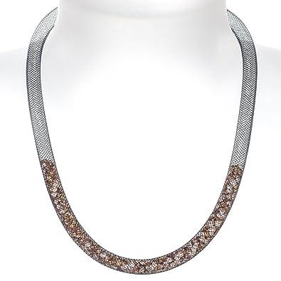 f90a6809e By Niya Crystal Splash swarovski crystal fatty part-filled necklace (black  mesh/champagne crystals): By Niya: Amazon.co.uk: Jewellery