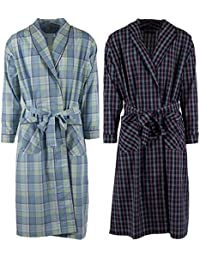 Mens 2 Pack Long Sleep Robe , Premium Cotton Blend Woven Lightweight Bathrobe