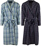 Mens 2 Pack Long Sleep Robe, Premium Cotton Blend Woven Lightweight Bathrobe (Large/XL, 2 PK-Assorted Plaids)