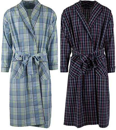 Mens 2 Pack Long Sleep Robe, Premium Cotton Blend Woven Lightweight Bathrobe (Large/XL, 2 PK-Assorted Plaids) -