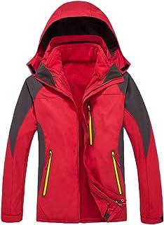 Qitun 3 in 1 Giacca a Vento Softshell per Uomo/Donna con Cappuccio da Trekking Montagna Outdoor Sports Giacca da Neve
