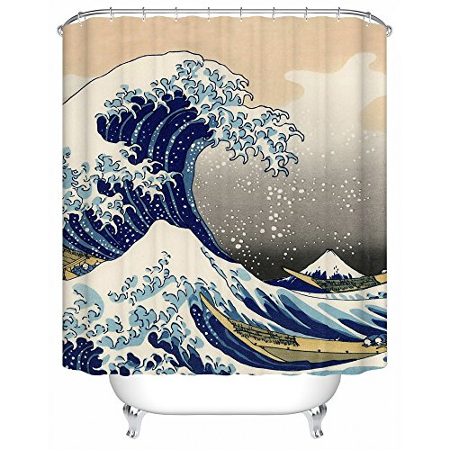 ks Ukiyo-e Fabric Shower Curtain,brave People Are Fighting Against Nature Sees The Spirit Positive Never Stop,72Wx72H,waterproof Mold Resistant ()