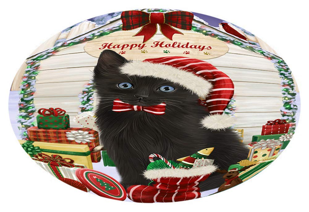 Doggie of the Day Happy Holidays Christmas Black Cat Presents Oval Envelope Seals OVE66560 (50)