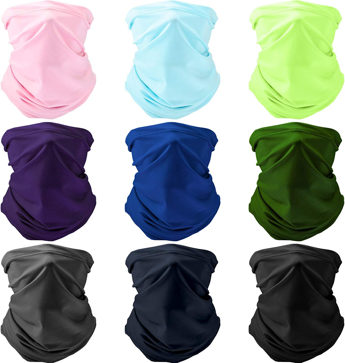 9 Pieces Summer UV Protection Face Cover Scarf Neck Gaiter Seamless Breathable Headwear Headband Bandana (Solid Color)