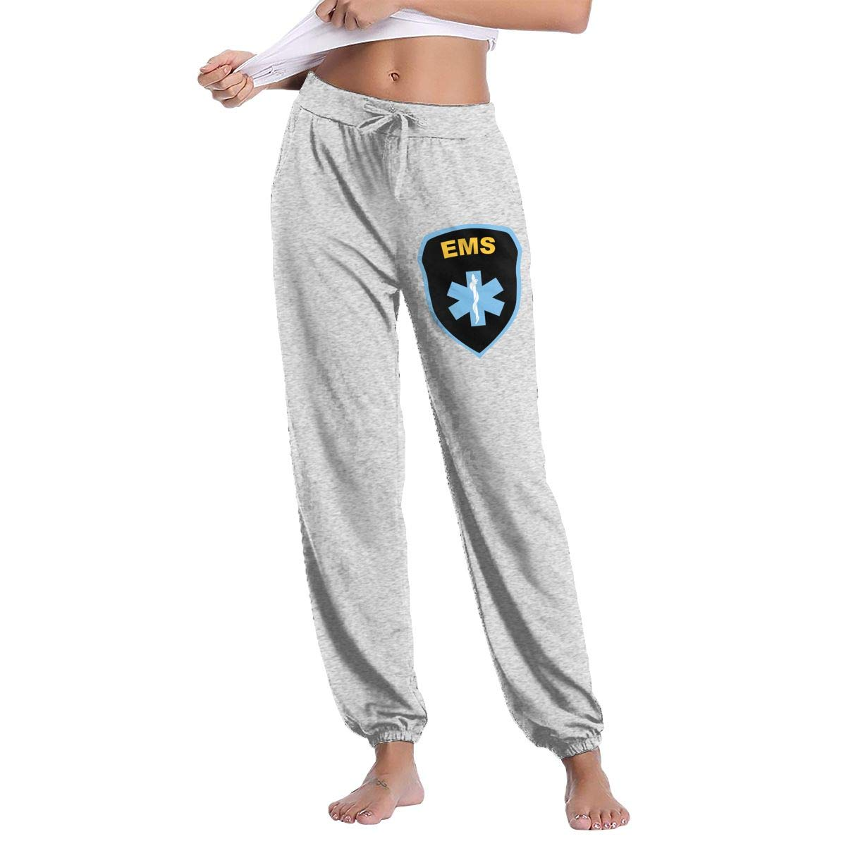 XingxDianD EMS Star of Life EMT Paramedic Medic Women s Joggers Sweatpants  Cotton Long Pants with Pockets at Amazon Women s Clothing store  1e3be350c