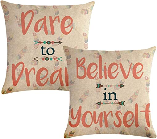Inspirational Quotes Throw Pillow Covers Dare To Dream Believe In Yourself Feather Arrow Decorative Cushion Covers Home Decorative Pillowcase 18 18 2pack For Sofa Couch Bed Inspirational Quotes Amazon Co Uk Kitchen Home
