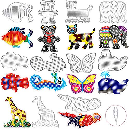 KSdeal Fuse Beads Pegboards 20 Patterns 5mm Craft Set for Kids Including Colorful Cards,Tweezers,Keychains,Hang Ropes,Hang Circle,Small Bell,Perler Compatible Kit Best Gift