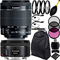 Canon EF-S 18-55mm f/3.5-5.6 IS STM & EF 50mm f/1.8 STM Dual Lens Bundle & Accessory Kit for EOS 7D Mark II, 7D, 80D, 70D, 60D, 50D, 40D, 30D, 20D, Rebel T6s, T6i, T5i, T4i, SL1, T3i, T6, T5, T5, T3