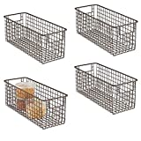 """mDesign Narrow Farmhouse Decor Metal Wire Food Storage Organizer Bin Basket with Handles for Kitchen Cabinets, Pantry, Bathroom, Laundry Room, Closets, Garage - 16"""" x 6"""" x 6"""" - 4 Pack - Bronze"""