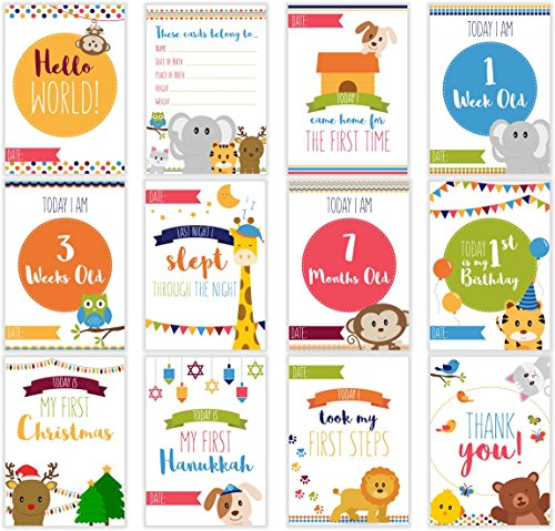 LovelySprouts Moments & Milestone Baby Age Cards   Set of 35 Photo Cards in a Keepsake Box Gift Set   Capture Precious Moments   Perfect Baby Shower Gift (Age Card)