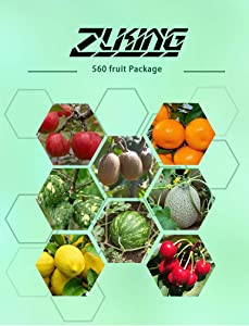 560pcs Fruit Seeds Package Includes 8 Varieties Including Watermelon Cherry Apple Cantaloupe Lemon Easy to Plant Ripe in Summer Mix Match Package Enjoy Life Garden Courtyard Organic Heirloom Fruits