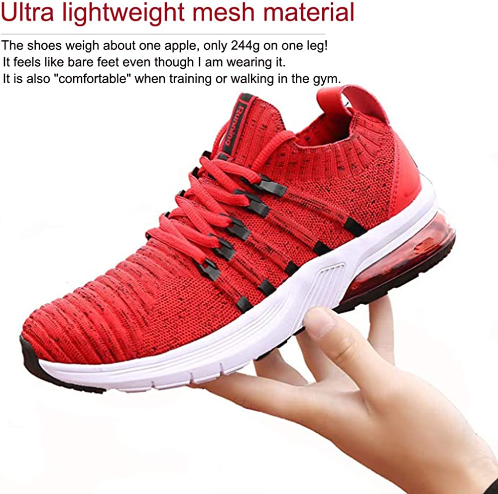 TUBYGO Running Shoes for Mens Womens Breathable Air Cushion Gym Lightweight Tennis Sport Walking Athletic Casual Footwear Sneakers