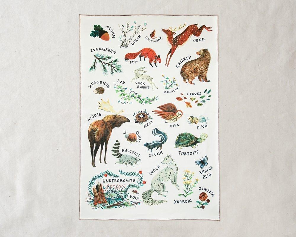 Wildship Studio 100% Organic Cotton Baby Blanket, Woodland Alphabet Animals