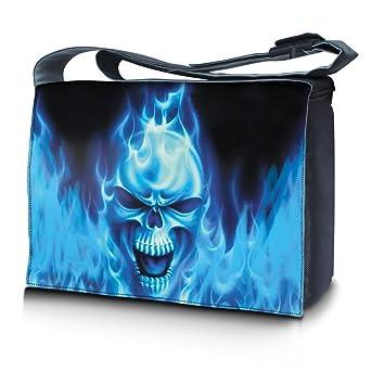 Luxburg® Design bolso bandolera de mensajero, de escuela bolso para portátil ordenadores Laptop Notebook 17,3 pulgadas, motivo: Calavera sobre fondo azul: ...