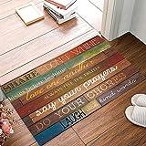 HomeCreator 23.6 x 15.7 Inch Family Rules Educational Rustic Wood Door Mats Kitchen Floor Bath Entrance Rug Mat Absorbent Indoor Bathroom Decor Doormats Rubber Non Slip