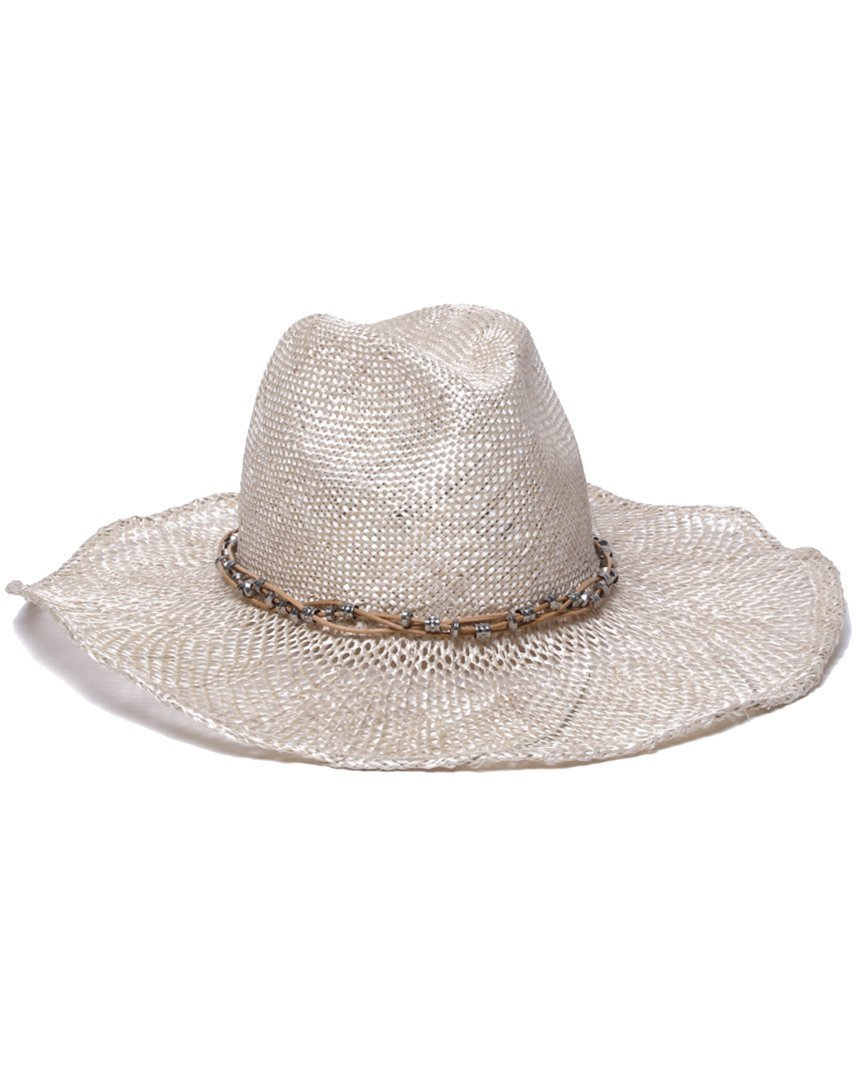 Gottex Women's Jordan Pearl Hemp Straw Sun Hat, Rated UPF 30, Ecru, Adjustable Head Size